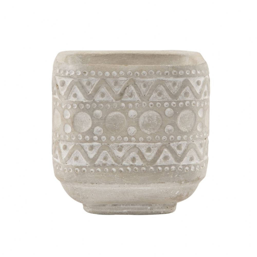 Ola Cement Planter- Natural Coloured Cement Plant Pot with Tribal Design Imprint